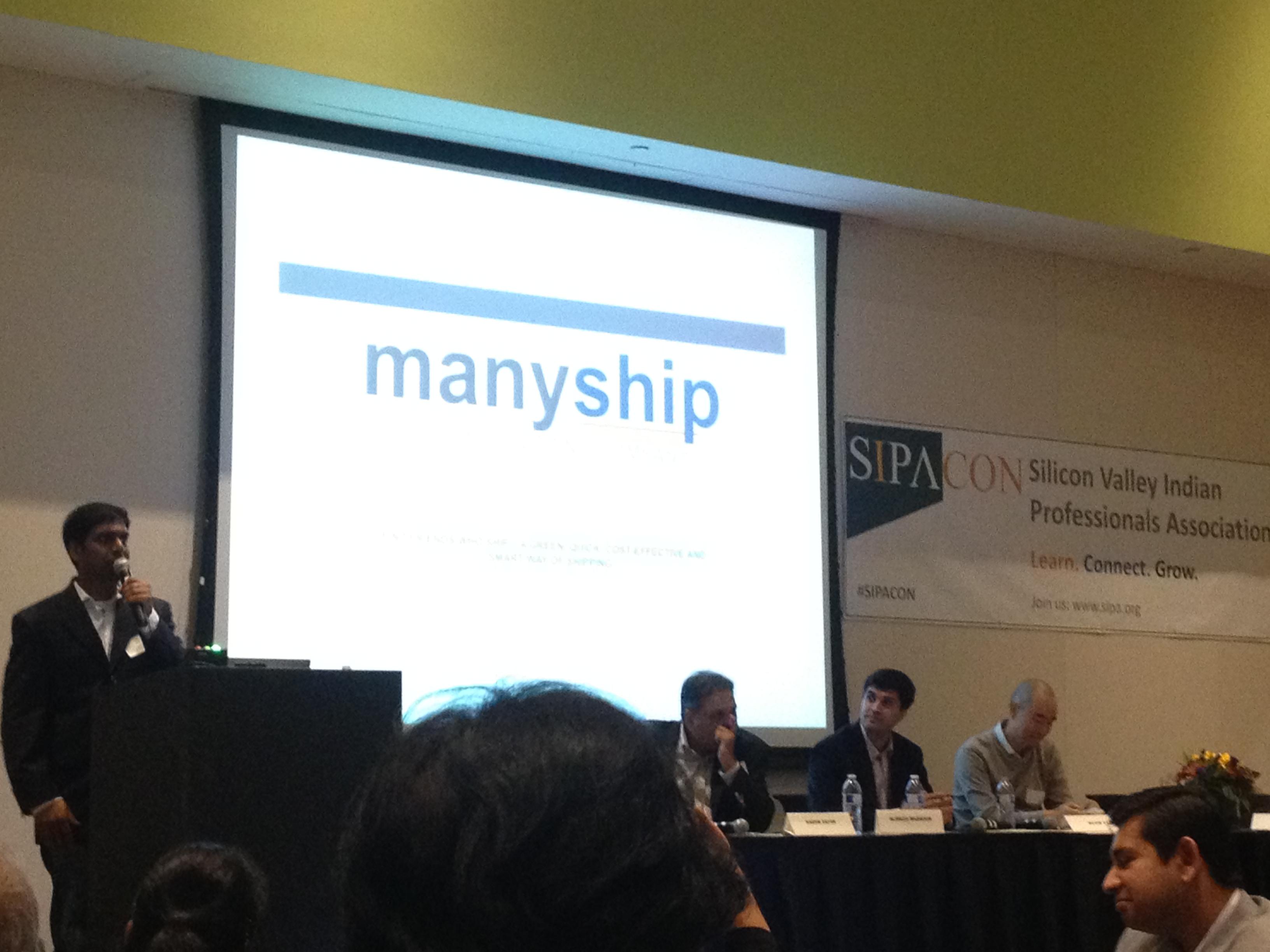 Prasad pitching ManyShip at conference